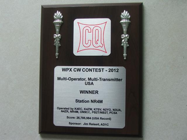 2012 WPX CW PLAQUE